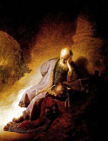 Jeremia treurend over de verwoesting van Jeruzalem