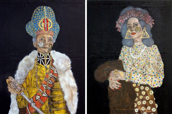 Frohawk-Portraits of the fictitious characters Bonnie Prince Johnnie and Lucretia Theroux